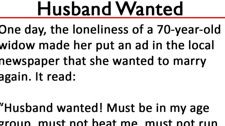 "Older widow who placed ""Husband Wanted"" ad with strict rules gets exactly what she asked for"